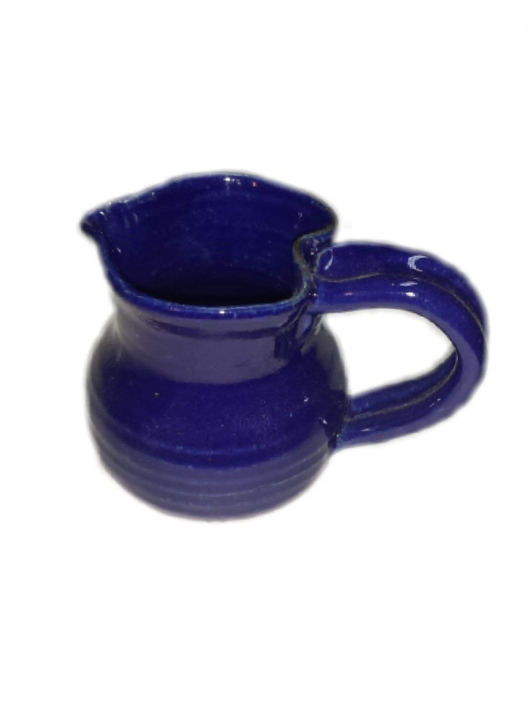 Aunt Chris' Pottery - Hand Made Clay - Gravy Spout Cup (Mug) - Navy Blue Colored Glaze - Vintage Style - Looped Handle - With a Natural Stone Base
