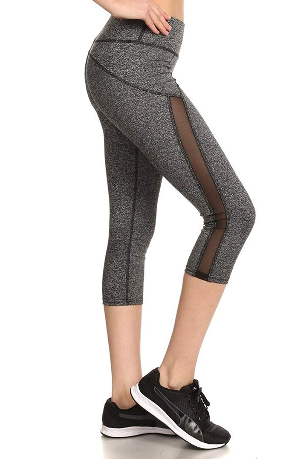 SHOSHO Women's Fitted Stretch Capri Leggings (Dark H.Gray/Mint)