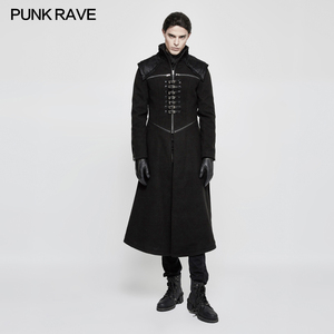 Y-777 Theater leather patch work strapped winter Gothic men long winter coats