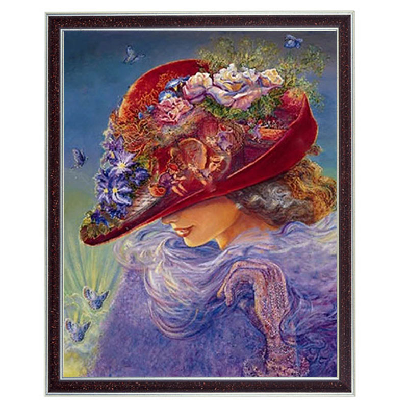 Needlework Crafts Home decor 14CT unprinted embroidery French DMC Counted Cross Stitch Kit/Set DIY Oil painting The Red Hat arts