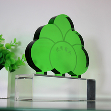 new design green tree shape crystal trophy for wholesale