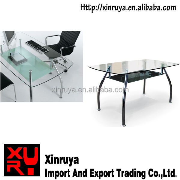 spray glass office table or dining table with chrome leg