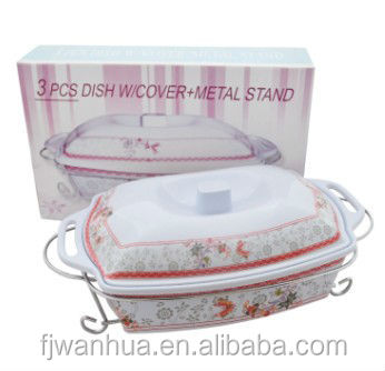3pcs serving dishes with stand