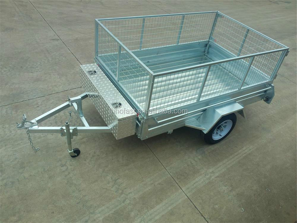 caged box trailer with tool box