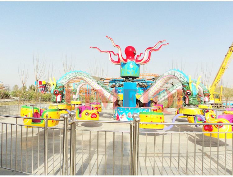 Night attractions LED lighting jumping amusement rotary octopus ride for sale