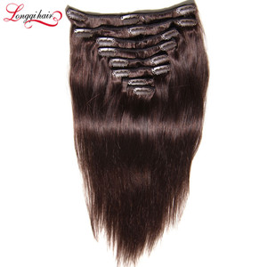 Coffee Brown Hair Color Weave Human Hair Clip In Hair Pieces