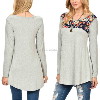 OEM Women Fashion Cream & Navy Floral Scoop Neck Tunic Tops Plus Size Women Long Sleeve Tunic Tops