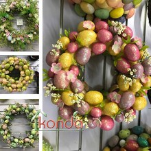 Artificial easter egg wreath plastic decoration bunny berry christmas ornament