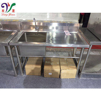 Commercial Restaurant Dishwasher Stainless Steel Sink With Work Table & Watertap