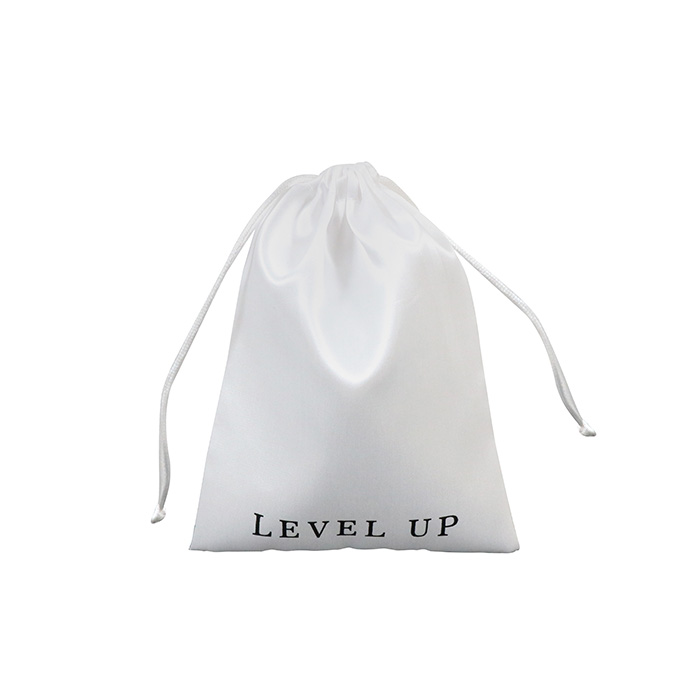 Small white lash cosmetic satin dust make up drawstring bag with logo printed