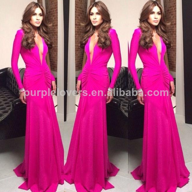 Venta al por mayor vestidos largos fucsia-Compre online los mejores ...