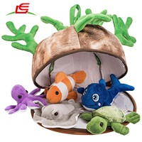 5 Piece Set of Plush Soft Stuffed Play set with Plush Coral Reef House for Storage Stuffed sea animal house Pet Toy