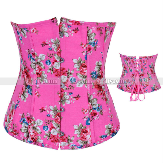 2d21ac16a45 Get Quotations · Pink Floral Boned Waist Cincher Underbust Corset Lace Up  Waspie Bustier Steel Busk Basque S M L XL