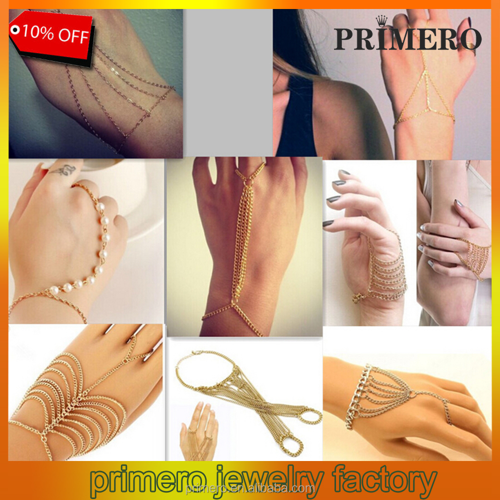 PRIMERO Gold pearl Slave Hand Finger Bracelets & Bangles for Women Fashion Charms Harness Pulseiras Bijoux Summer Jewelry