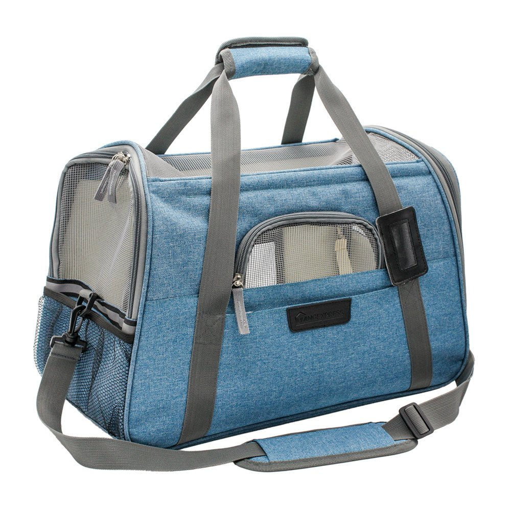 """Airline Dog Carrier,Dog Carrier Airline Approved Travel Foldable,Soft Sided Carrier with Fleece Bedding,Dogs Purses,Pet Carrier Under Seat for Small Dog and Cat(17.5""""L x 10""""W x 11""""H,Grey/Turquoise)"""