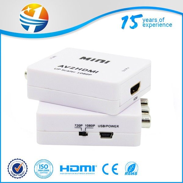 XANUAN 1080p small white box AV TO HDMI Converter white