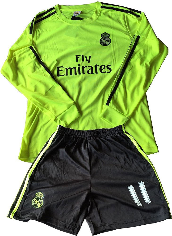 a4fe3f41b51 2015 2016 Real Madrid Green Away Bale  11 Long Sleeve Kids Soccer Football  Jersey