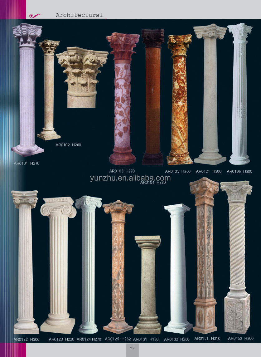 Home Decorative Hand Carving Natural Stone Column With Lady Statue