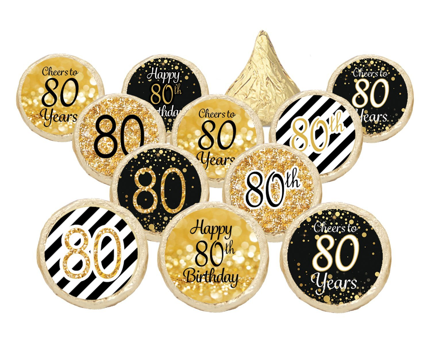 80th Birthday Party Favor Stickers