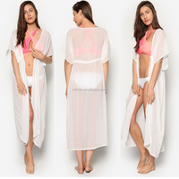 100% Polyester Chiffon White 3/4 Sleeves Open Front Relaxed Fit Design Cover Up Woman Long Kimono Beach Robe With Drawstring