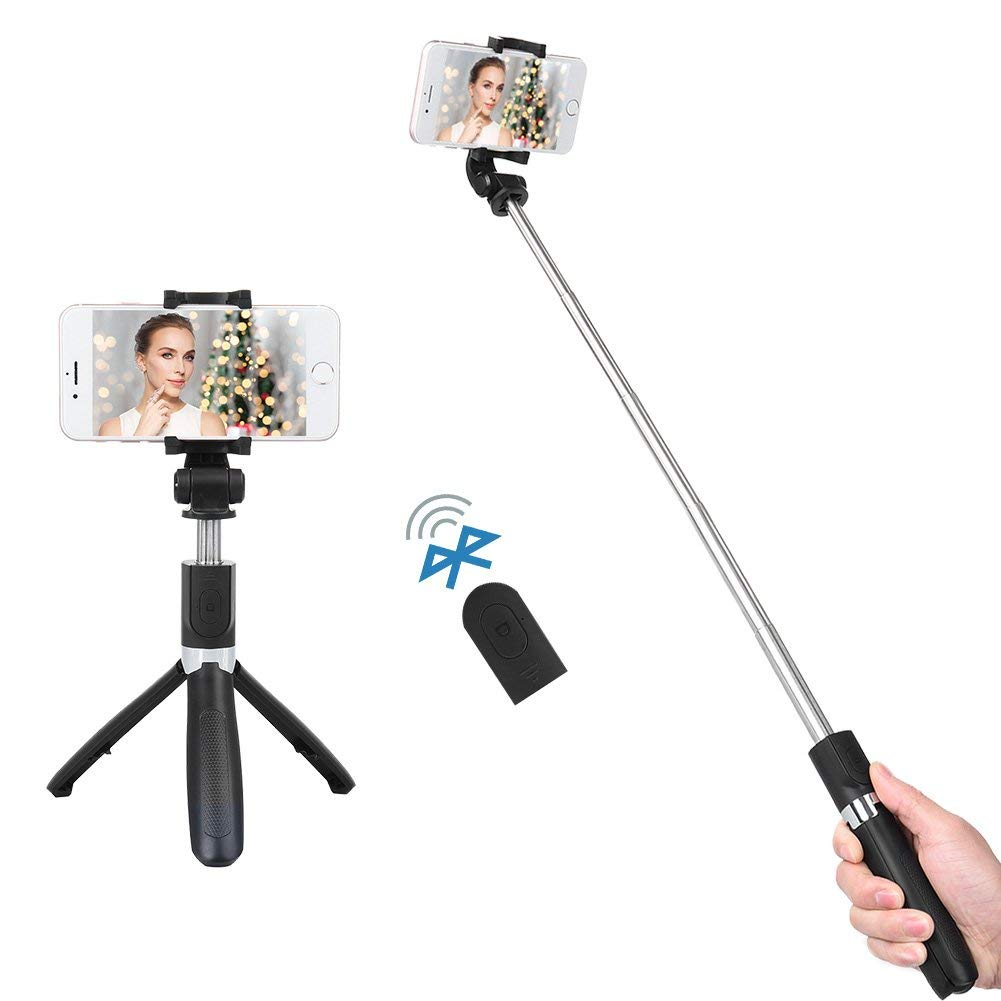 ALLCACA Bluetooth Selfie Stick Tripod 2 in 1 Mini Pocket Extendable Monopod Selfie Stick Bluetooth Monopod with Foldable Tripod Stand and Remote Controller