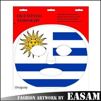 Menakjubkan uruguay bendera topeng tato desain stiker untuk seni
