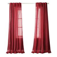 Back Tab and Rod Pocket Window Crushed Voile Sheer Curtains for Bedroom, Red, 51 x 84 inch, Set of 2 Crinkle Sheer Curtain Panel
