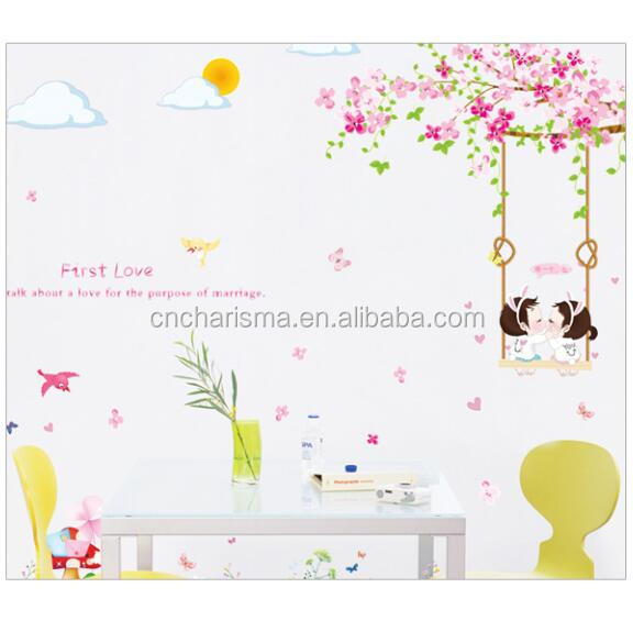 wholesale kids decal adhesive wall pvc flower stickers