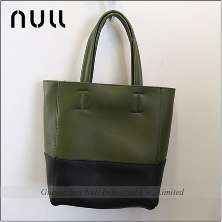 PU leather Korean type woman shoulder tote handbag mix color bag