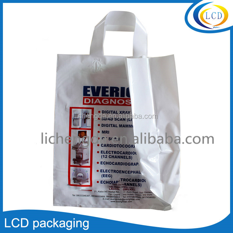 Customized tobacco and alcohol packing plastic bags soft loop handle bags flexiable