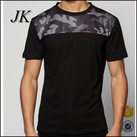 custom mens two tone colour block t shirt contrast camo printing mesh yoke t shirt