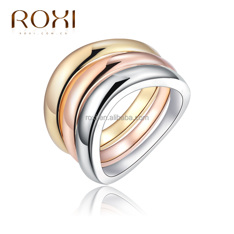 ROXI High-end Gold Plated women rings Eye-catching Colorful Sparkling Rhinestone Ring