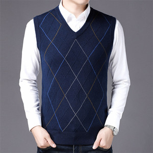 Best Selling Men Casual V Neck Pullover Sweater Slim Pure Color Warm Knitted Sweaters Vest