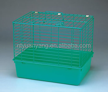 Green foldable wire and plastic cat cage with feeder