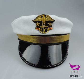 White embroidery navy captain hat sailor hat naval cap police officer hat 3921224f87f