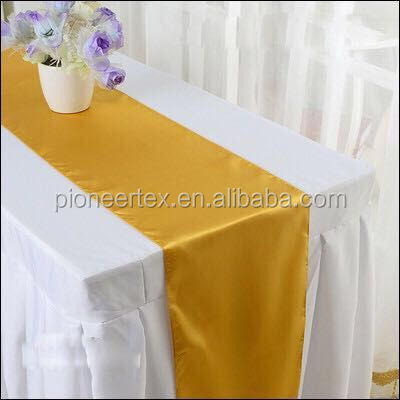factory wholesale gold satin table runner