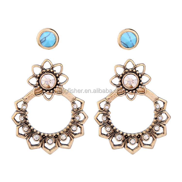 Vintage design crystal beads stud assembled alloy hoop earrings for girls wholesale