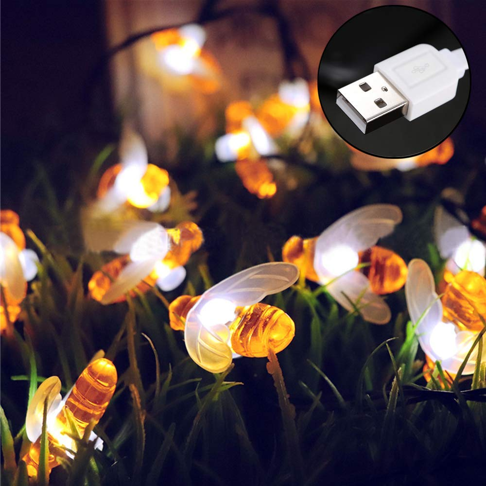 Doris Direct Honey Bees Fairy USB String Lights,10Ft 20LED Indoor Simulation Honeybee Power Led String Lights Party,Wedding,Xmas,Decoration,Gardens,Patios,etc.
