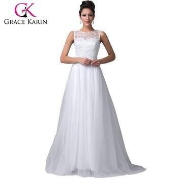 Grace Karin Elegant Sleeveless Off Shoulder Lace Prom Dresses White ...