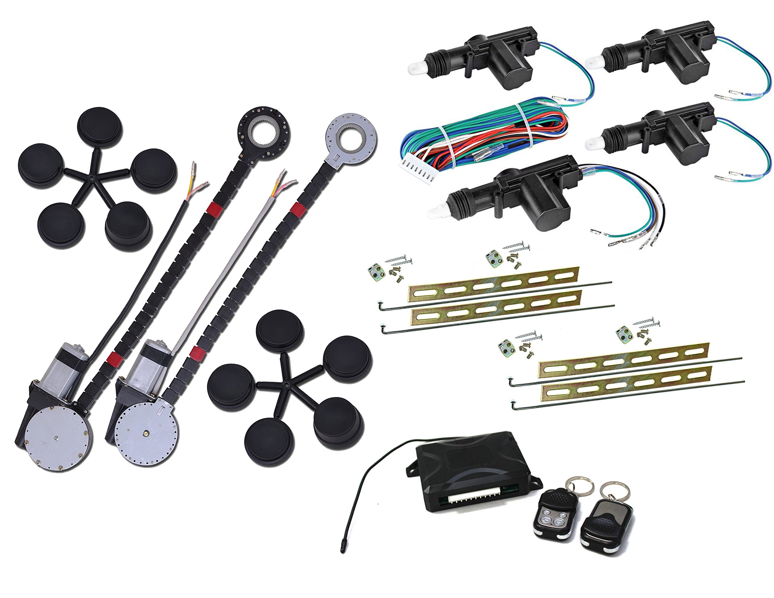 American Terminal 2 Window Roll Up Conversion Power Electric Universal Kit +4 Door Lock Conversion Kit For Car