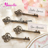 AR609 Customized Key To My Heart Victorian Style Key Metal Ancient Place Card Holder
