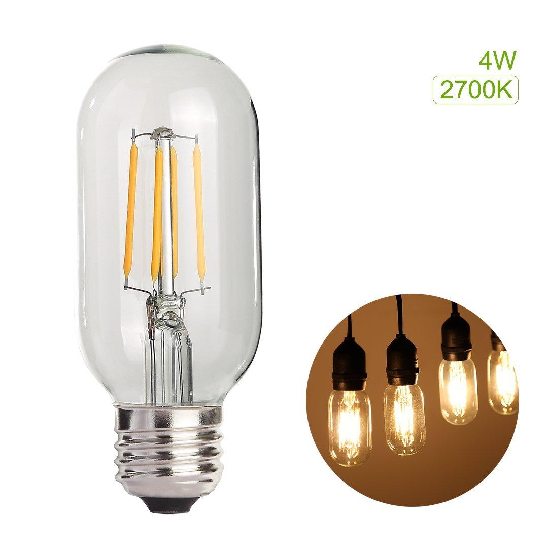 ProGreen 4W LED Filament Vintage Edison tubular Light Bulb T45, Antique LED Light Bulb, Warm White 256LM, E26 / E27 Medium Base Lamp, 40W Incandescent Replacement