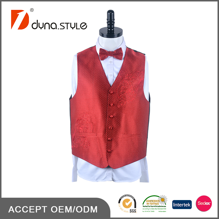 Red Polyester Woven Embroidery 4 Piece Set Mens Wedding Vest with Necktie Bow Tie Handkerchief