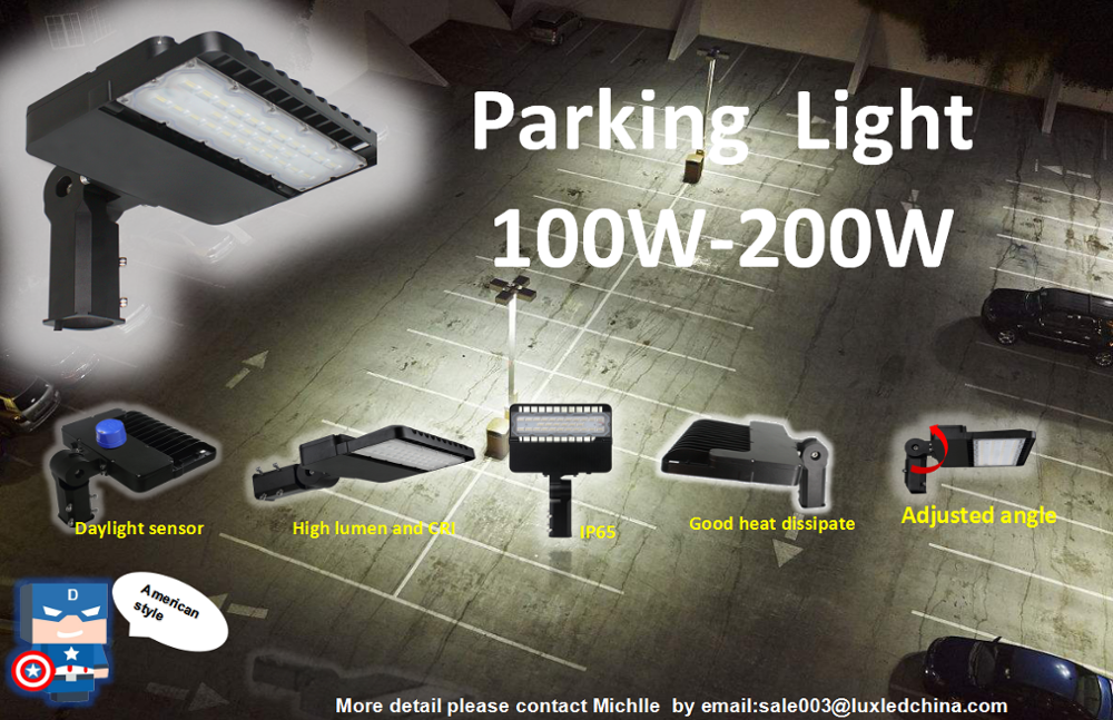 American style parking light 100w-200w led shoe box