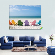 Eaby Hot Sale Digital printed landscape painting Blue Sky Sea and beach chair canvas prints oil painting for living room