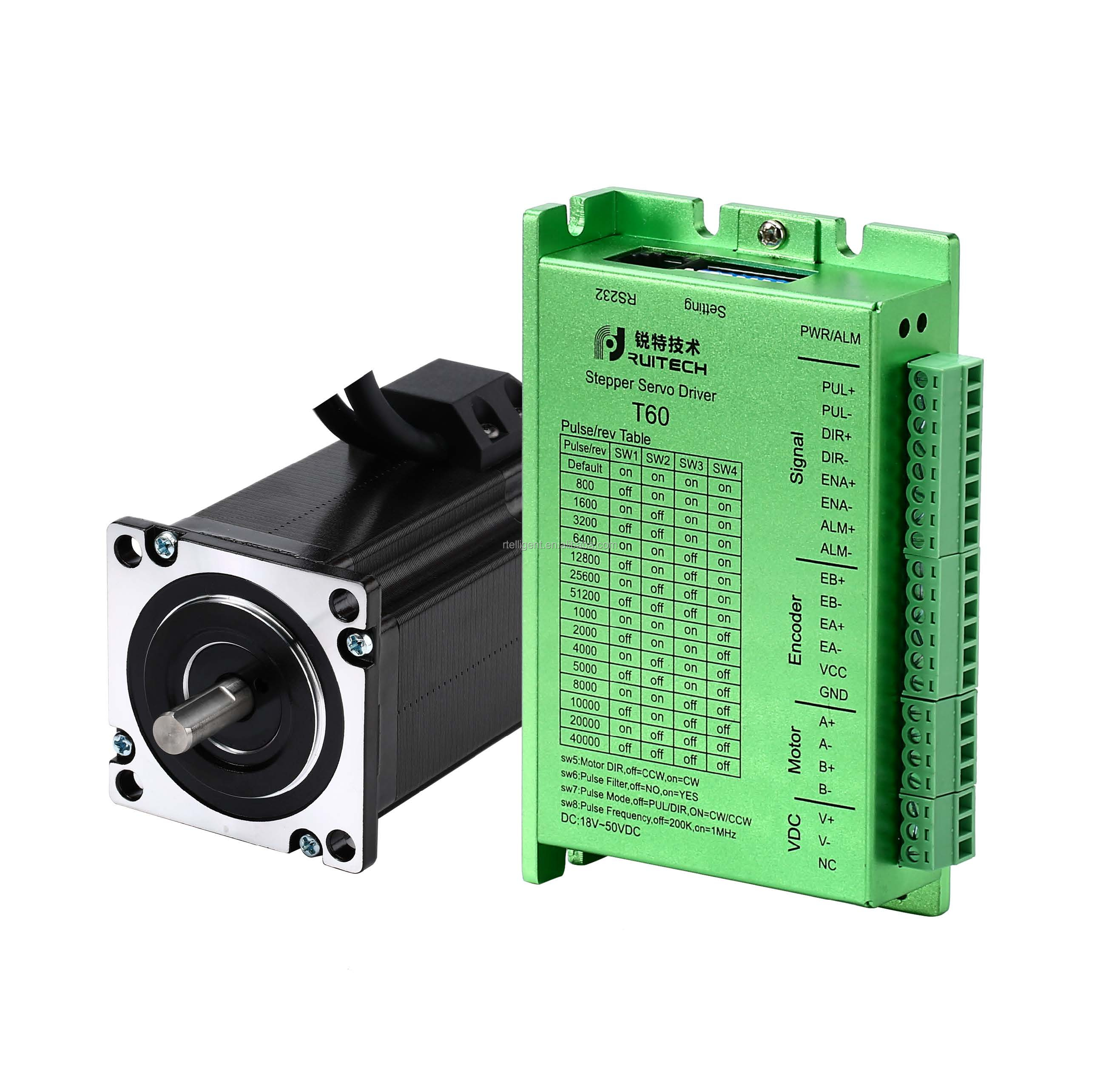 60A3EC + T60 closed loop servo stepper motor with encoder,  60mm motor 5.0 A cnc  nema 24 nema 23 step motor kit