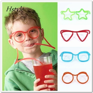 Hot Sale Novelty items Amazing Silly Straw Drinking Glasses Eyeglass Flames Piped 5 Colors best gift Straw SC003