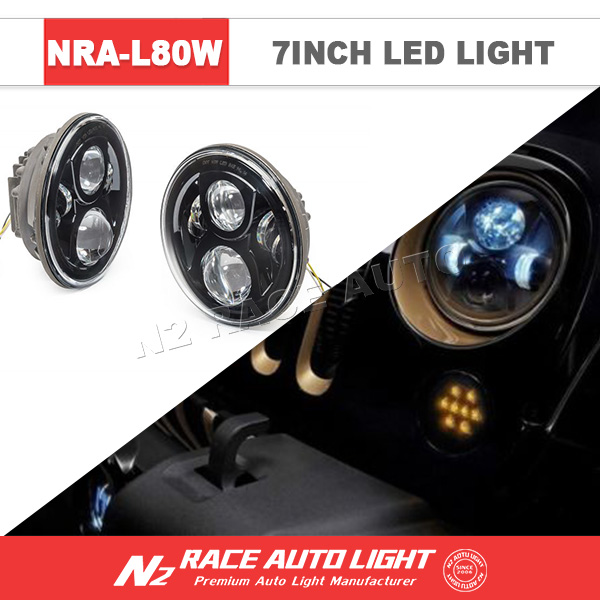 N2 Wholesale Jeep Wrangler TJ 7 inch 80w Round LED Headlight with DRL ip68