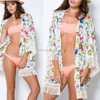 Chiffon Tassel Cardigan Cover-up Tops Women Floral Print Blouse Summer Swimwear Bikini Beach Cover Up Tops for Sexy Women