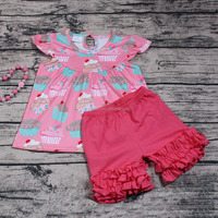 Yawoo New Style Baby Girls Flutter Sleeve Boutique Outfits 2pcs Wholesale Ruffle Shorts Clothes Set Cheap Kids Clothes Stores
